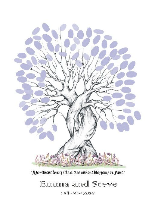 A3 Personalised Quote Wedding Fingerprint Tree - Guest Book ...